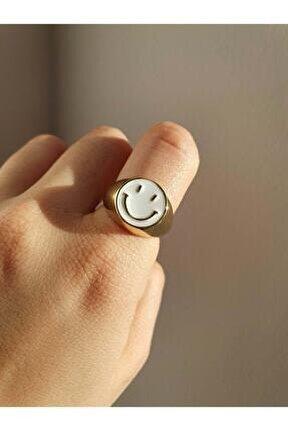 Altın Kaplama Gülen Yüz Smile Yüzük / Beyaz