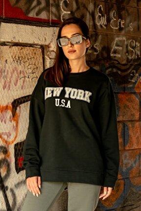 Kadın Petrol Yeşili New York Sweatshirt