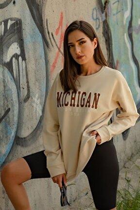 Kadın Bej Michigan Baskılı Sweatshirt