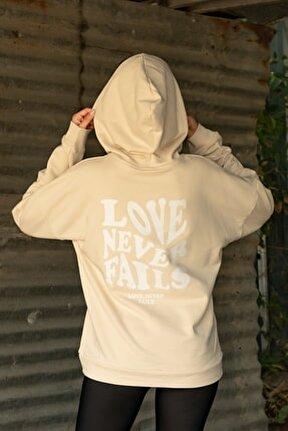 Kadın Bej Sırt Baskı Love Never Sweatshirt