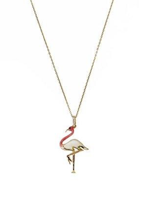 Kadın Mineli Flamingo Altın Kolye