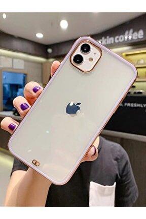 Iphone 12 Premium Electrolize Silikonlu Lila Telefon Kılıfı
