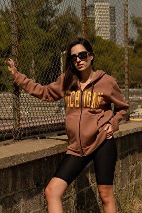 Kadın Kahverengi Michigan Fermuarlı Sweatshirt
