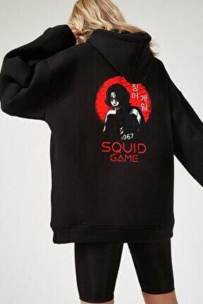 Kadın Siyah Squıd Game Baskılı Sweatshirt