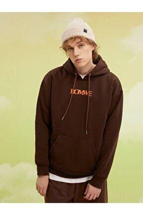 Erkek Kahverengi Romwe Baskılı Oversize Sweatshirt