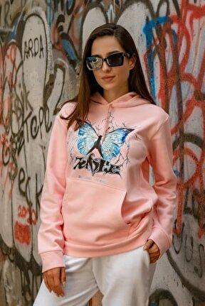 Pembe Şimşekli Kelebek Baskılı Kadın Sweatshirt