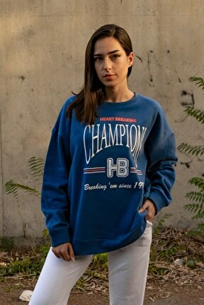 Kadın Mavi Baskılı Oversize Sweatshirt