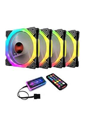 Coolmoon 4x12cm Rgb 6 Pin Işıklı Renkli Rainbow Kasa Fanı Seti Kit Kontrol Ünitesi Kumandalı