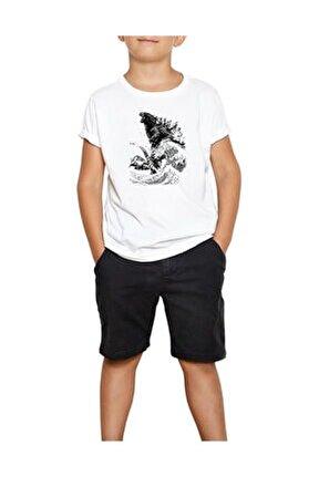 Godzilla Beyaz Çocuk Tişört