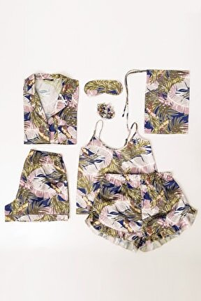 Kadın 7'Li Desenli Saten Pijama Takım