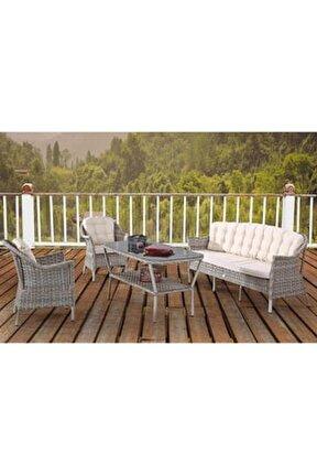 Rona Örgü Rattan Bahçe Balkon Üçlü Koltuk Masa 4 Parça Keyif Seti