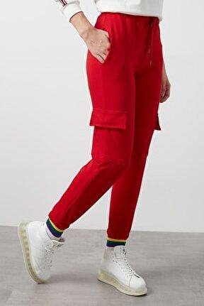 Kadın Kırmızı Belden Bağlamalı Cepli Paçası Lastikli Eşofman Altı 568b927