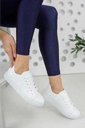 Unisex Beyaz Bağcıklı Günlük Spor Ayakkabı