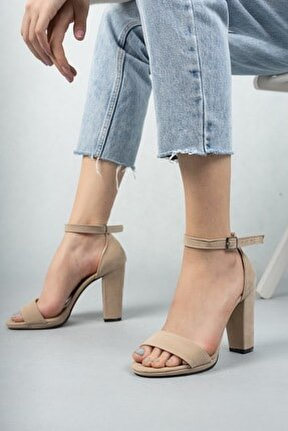 Kadın Marcas Bej Süet Topuklu Ayakkabı