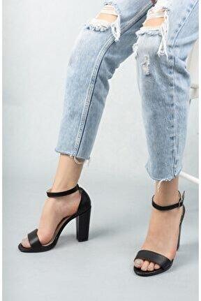 Kadın Marcas Siyah Deri Topuklu Ayakkabı