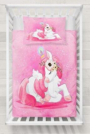 Bebek Pembe Prenses Atı 3d Desenli  Nevresim Takımı