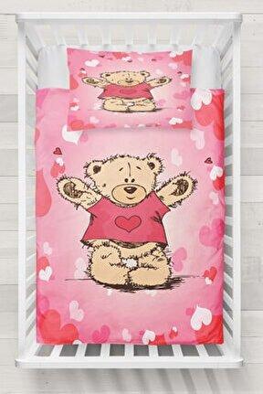 Else Sevimli Kalpler Ayıcıklı 3d Desenli Bebek Nevresim Takımı