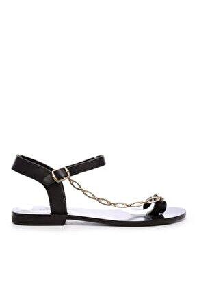 Kadın Siyah Derı Sandalet 607 Rl112