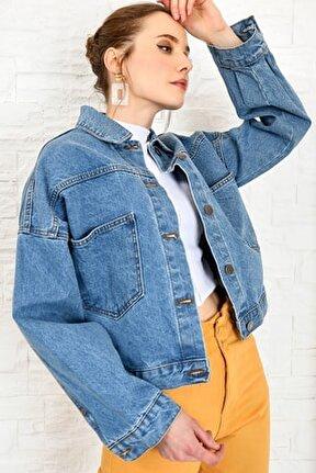 Kadın Mavi Crop Denim Ceket