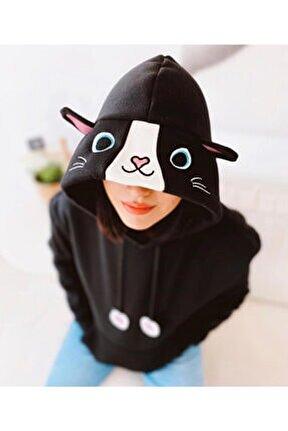 Kedi Şapkalı Bayan Sweatshirt