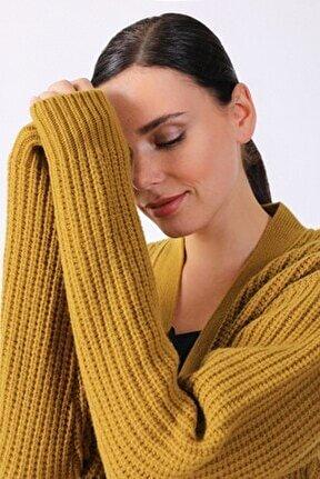 Kadın Sarı  Egle Oversize Triko Hırka