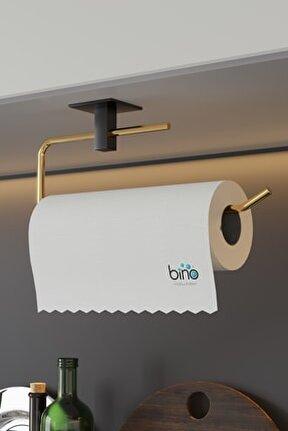 Gold Paslanmaz Dolu Çelik, Kağıt Rulo Havluluk, Peçetelik, Yapışkanlı Tasarım, Banyo Askısı
