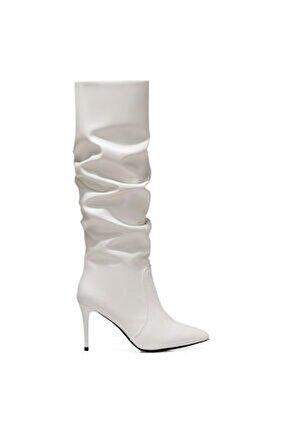 Pınto Beyaz Kadın Ökçeli Çizme