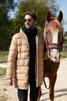 Erkek Kahverengi Ekstra Slim Fit Kapüşonlu Mont 556b5053