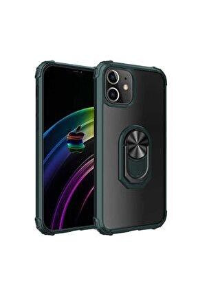 Iphone 12 (5.4) Kılıf Mıknatıslı Yüzüklü Standlı Arkası Şeffaf Silikon