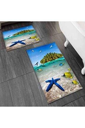 Else Mavi Deniz Yıldızı Balıklar Tropik Ada 2'li Klozet Takımı Banyo Paspas Seti Halısı