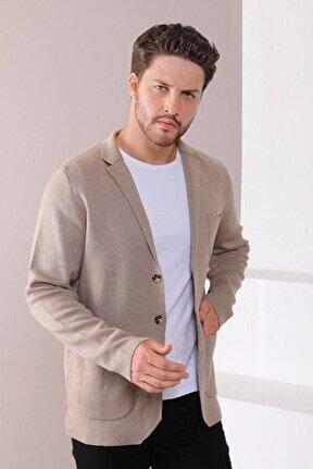 Erkek Bej Üç Düğmeli Ince Pamuk Triko Ceket