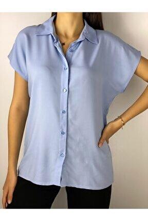 Kadın Mavi Viscon Basic Gömlek