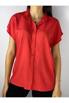 Kadın Kırmızı Viscon Basic Gömlek