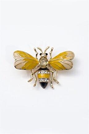 Kadın Sarı Arı Figürlü Broş