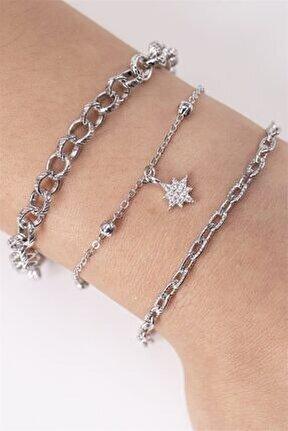 Kadın Gümüş Kuzey Yıldızı Figürlü 3lü Zincir Bileklik 042