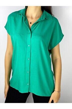 Kadın Yeşil Viscon Basic Gömlek