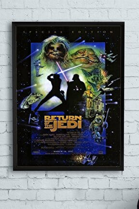 Star Wars: Episode Vı - Return Of The Jedi-yıldız Savaşları Film Afişi Çerçeveli Tablo(50x70cm)