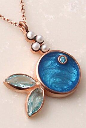 Kadın Mavi Mineli Gümüş Kolye