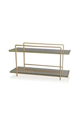 Kozmetik Standı 2 Katlı Gold - 20x37x13 Cm