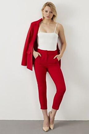 Kadın Kırmızı Atlas Kumaş Blazer Ceket Pantolon İkili Takım