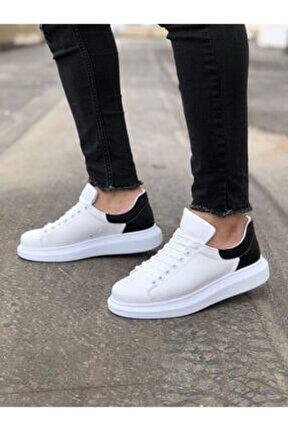 Erkek Beyaz Siyah Yüksek Taban Ayakkabı