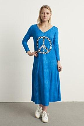 Kadın Mavi Yeni Model Leopar Baskı V Yaka Kapri Kol Maxi Boy Elbise