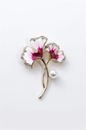 Kadın Pembe Çiçek Figürlü Broş
