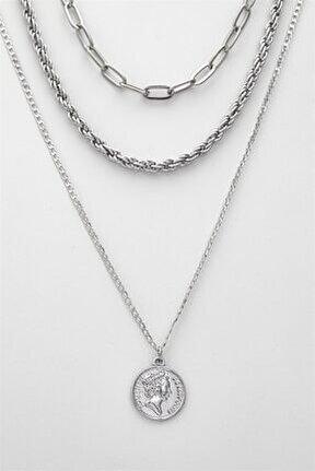Kadın Gümüş Çoklu Kolye 023