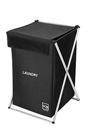 Katlanabilir Tekli Çamaşır Sepeti - Siyah