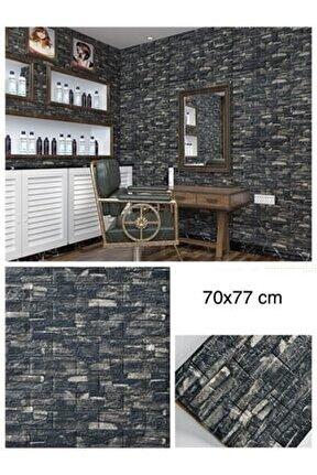 Koyu Gri Taş Desen Kendinden Yapışkanlı Duvar Paneli Nw60