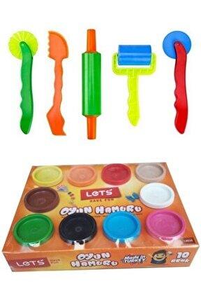 10x75 750 gr 10 Renk Oyun Hamuru ve Merdane Bıçak Seti