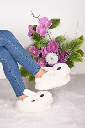 Kadın Beyaz Tavşan Figürlü Peluş Panduf Ba11928