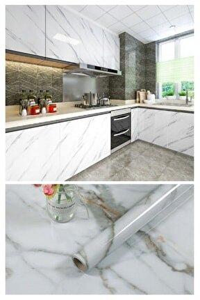 Mermer Desenli Mutfak Tezgah Üstü Yapışkanlı Folyo Beyaz - 5 Metre