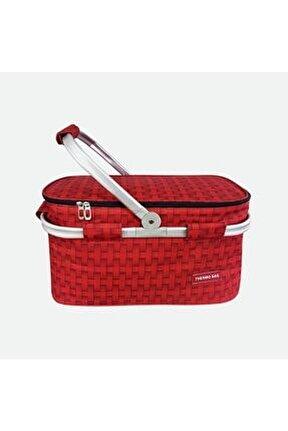 Thermo Bag Termoslu Piknik Sepeti Kırmızı
